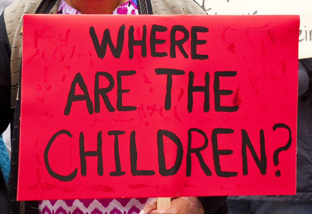 "A sign reads ""Where are the children?"" at an anti-ICE rally in Chicago, June 5, 2018. (Photo/Flickr-Charles Edward Miller CC BY-SA 2.0)"