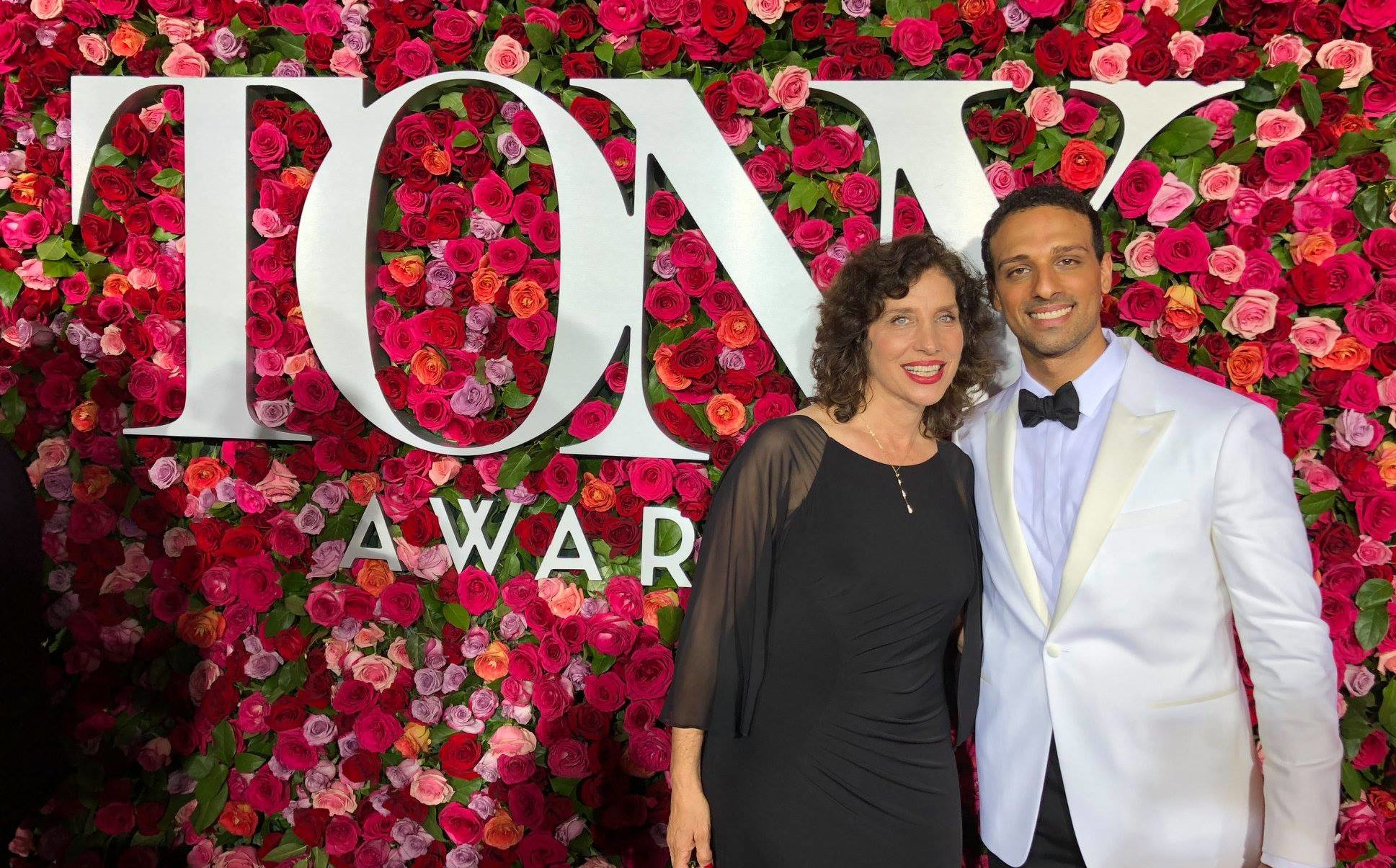 Ari'el Stachel with his mother, Laura Stachel, at the Tony Awards on June 10