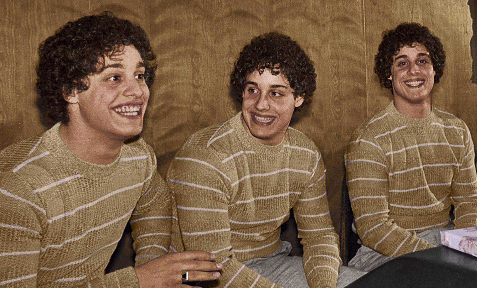 Identical triplets (left to right) Eddy, David and Bobby, adopted into different Jewish families at birth, are the subjects of a new documentary film.