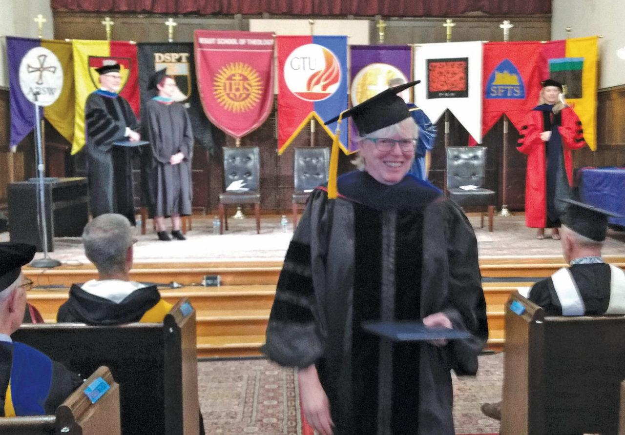Ellie Shapiro receiving her doctorate in Jewish studies and interdisciplinary studies from Graduate Theological Union.