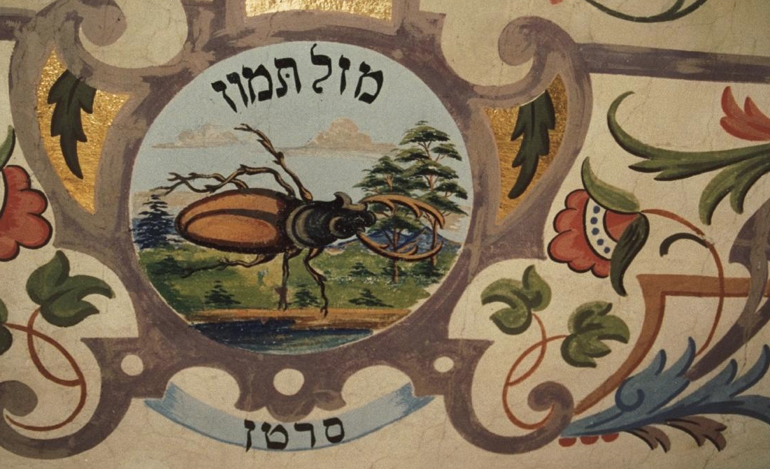 Sartan — the Hebrew form of the sign Cancer — on the wall of a Polish synagogue, ca. 1850-1900