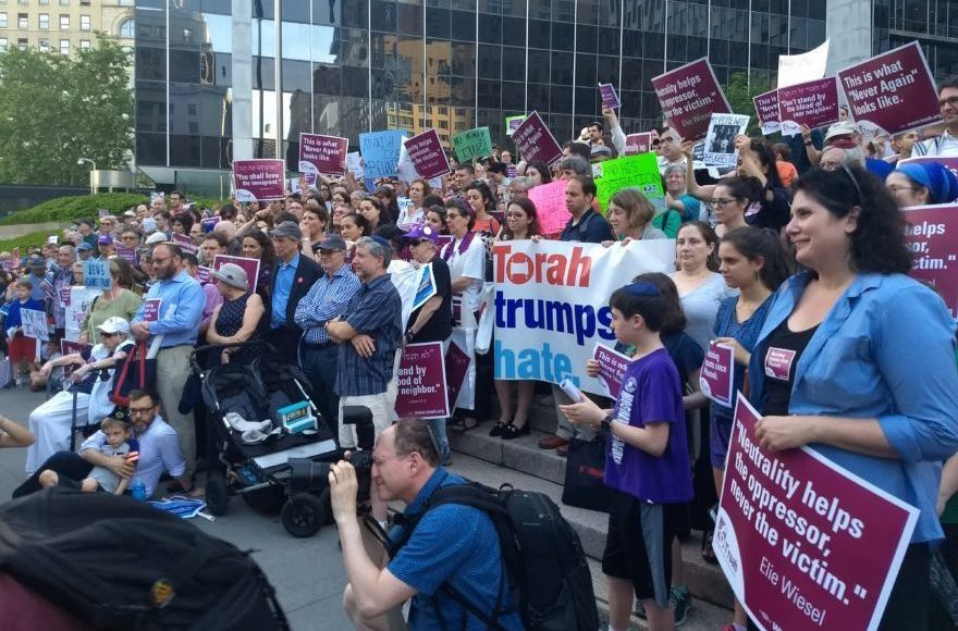 Protesters at a Jewish rally at the Immigration and Customs Enforcement headquarters in New York City demonstrate against the government's border separation policy, June 21, 2018. (Photo/JTA-Ben Sales)