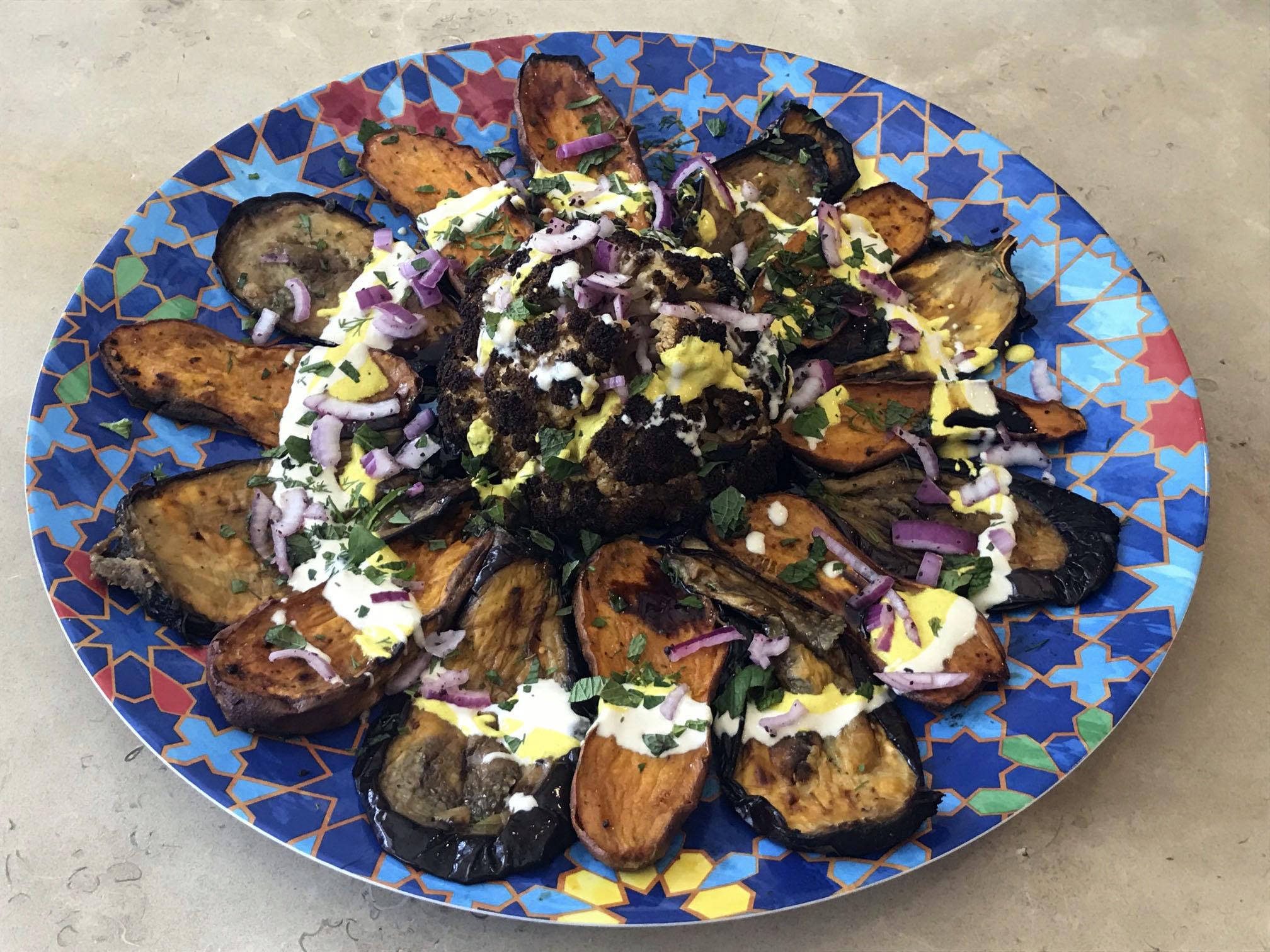 Faith Kramer's Tel Aviv-inspired Roasted Cauliflower with Vegetables and Sauces