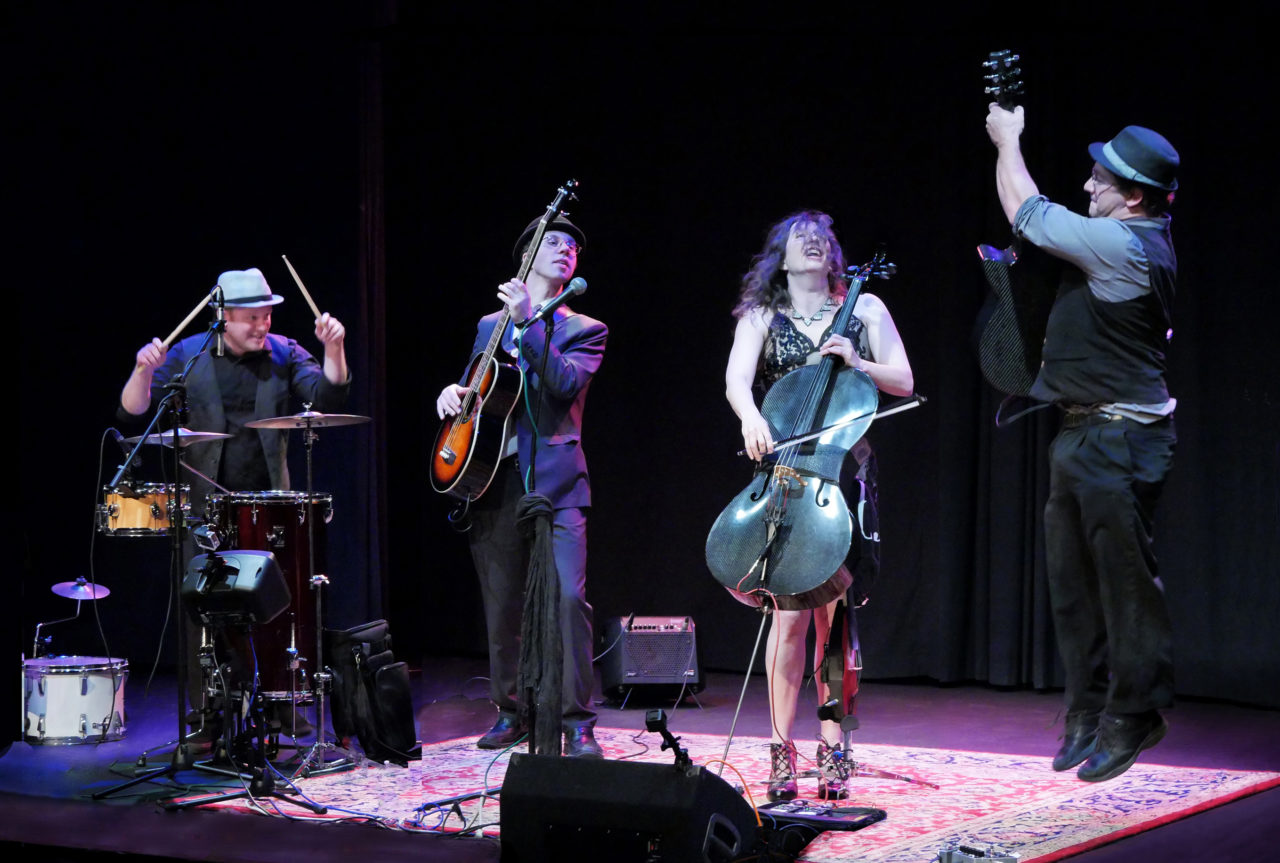 Dirty Cello in concert, left to right: Cory Aboud on drums,Colin Williams on bass,Rebecca Roudman on cello and Jason Eckl on guitar (Photo/Roger Franklin)