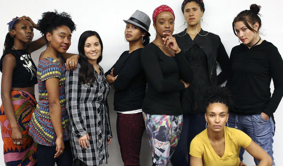 "The cast of ""Curren$y,"" Dan Wolf's all-female hip-hop reinterpretation of ""Merchant of Venice"" (Photo/Bethanie Hines)"