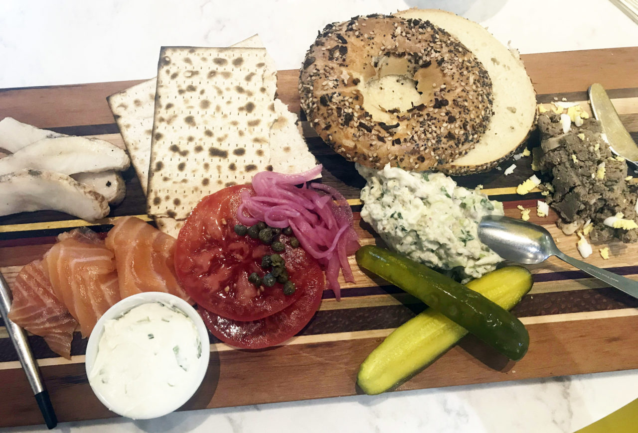 Solmon's Deli bagel board: everything bagel, lox, capers, tomato, pickles and more