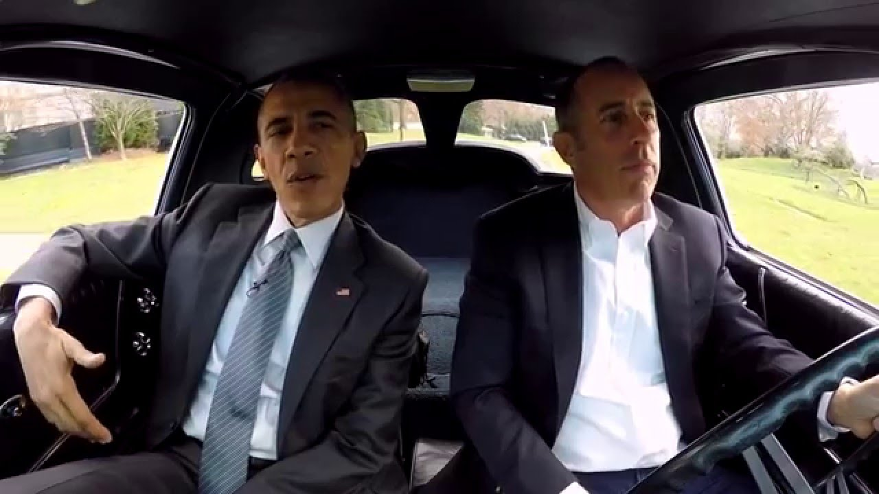 """Jerry Seinfeld and President Barack Obama in a 2015 episode of """"Comedians in Cars Getting Coffee,"""" now available on Netflix"""
