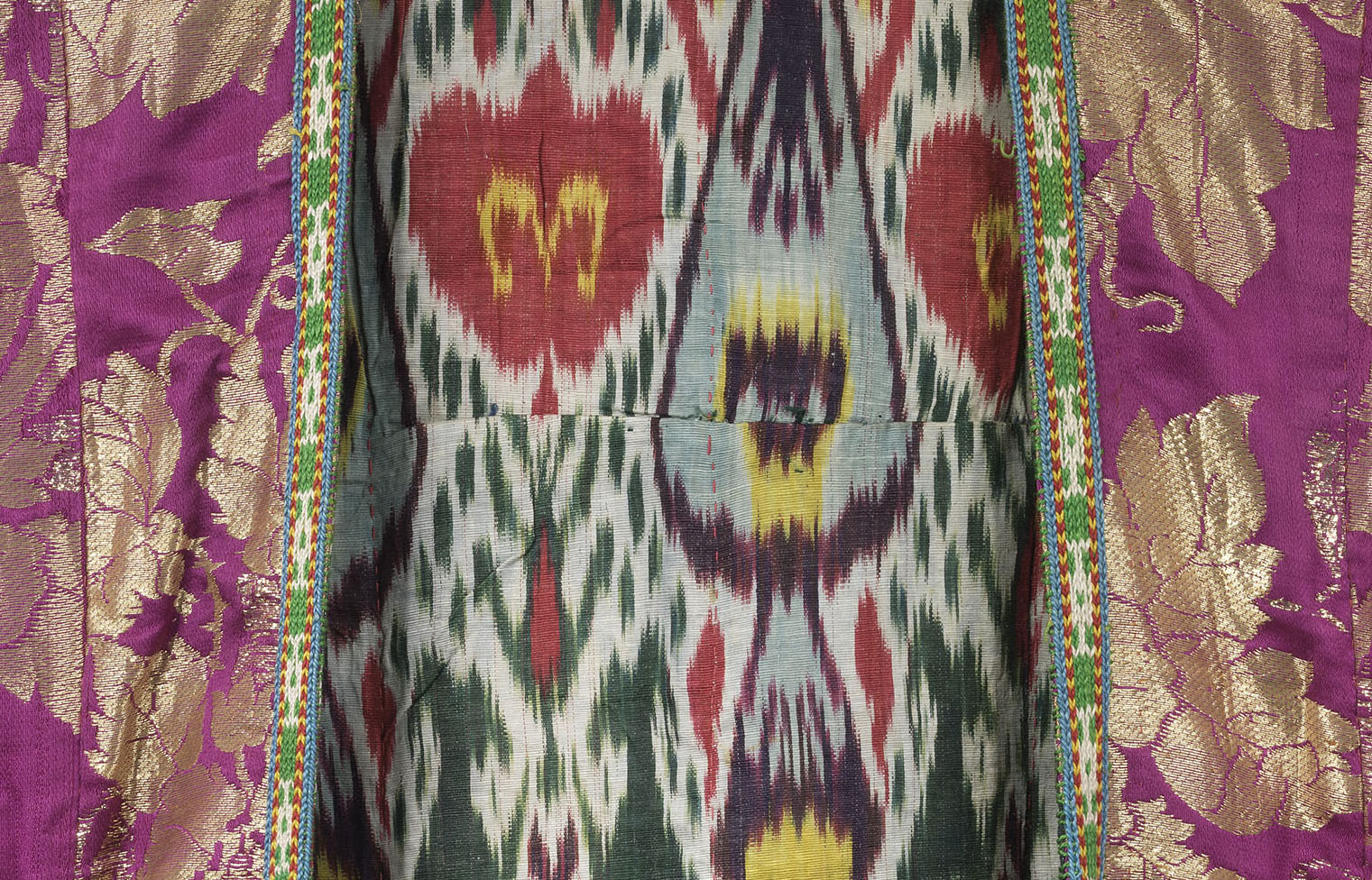 A woman's coat with a richly decorated lining from Bukhara, Uzbekistan, late 19th century