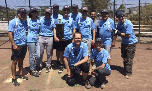 The Bay Area Temple Softball league's 2018 championship team from Congregation Kol Shofar