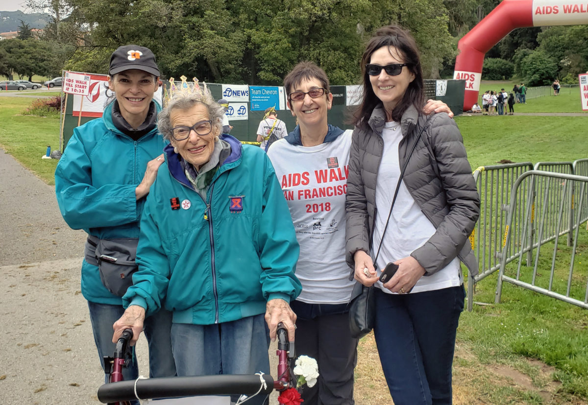 At the AIDS Walk San Francisco on July 15, 2018, (from left) Sandy Kovtun, Nita Juelich, Wilma Bass and Vivienne Leibowich (Photo/Courtesy Sandy Kovtun)
