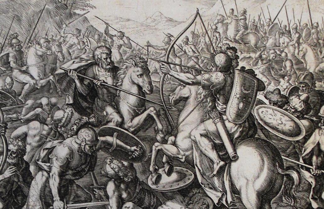 Illustration from Phillip Medhurst Collection depicting Joshua fighting Amalek