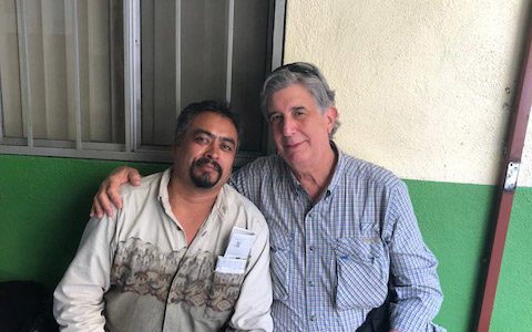 Rabbi Lee Bycel (right) with Juan, a deported man he met in Tijuana