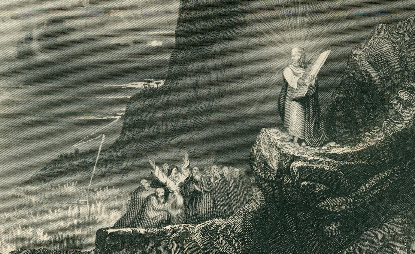 """""""Moses and the Ten Commandments,"""" engraving by H. Martin, ca. 1850"""