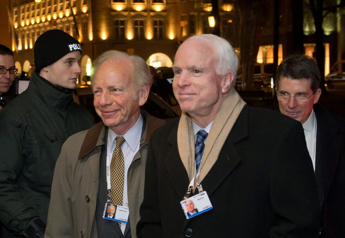 Sen. John McCain with Sen. Joseph Lieberman at the Munich Security Conference in Munich, Germany, Jan. 31, 2014 (Photo/JTA-Joerg Koch-Getty Images)