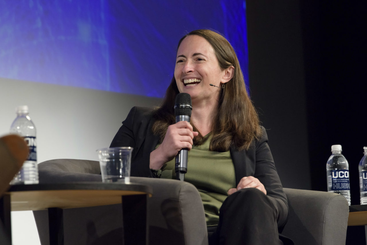 "Rabbi Melissa Weintraub on panel ""Talking About Faith and Politics"" at University of Connecticut, April 2018"