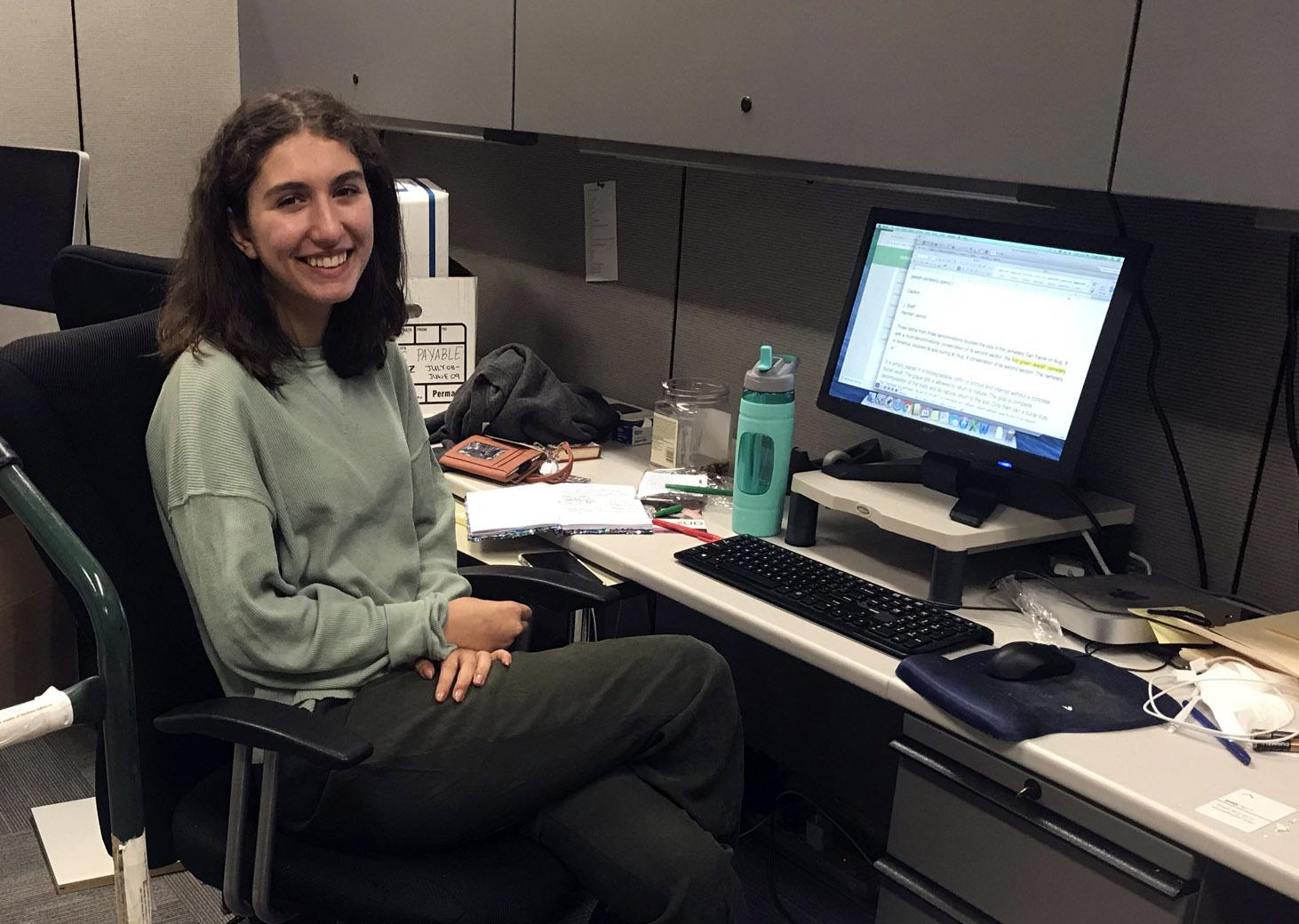 J. summer intern Hannah Jannol, hard at work