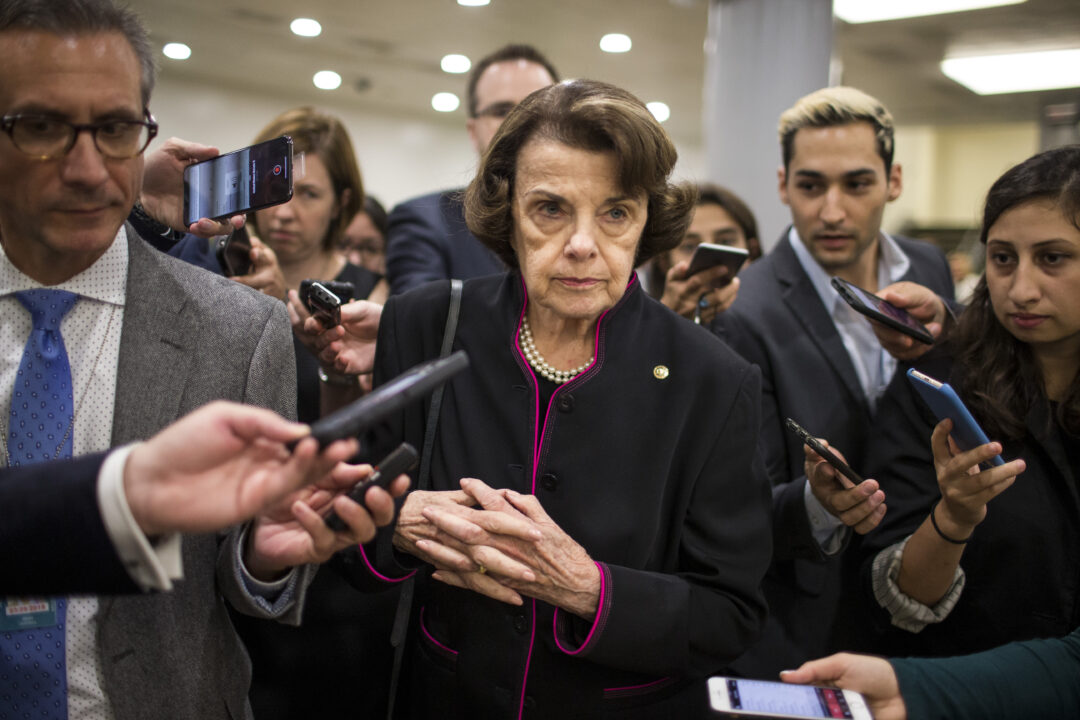 Sen. Dianne Feinstein speaks to the media in Washington, D.C., Sept. 27, 2018. (Photo/JTA-Zach Gibson-Getty Images)