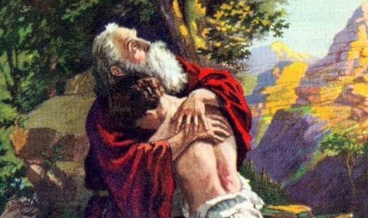 Isaac embraces Abraham by Otto Adolph Stemler, early 20th century