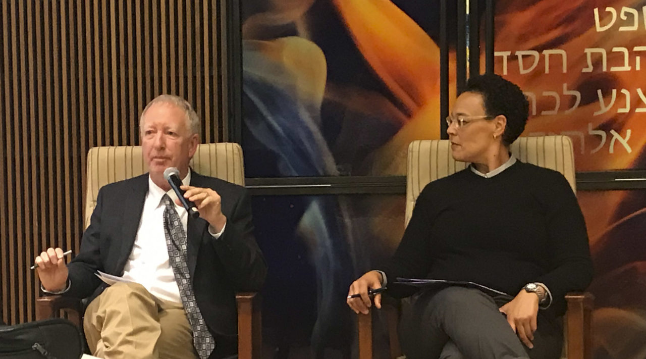 San Francisco State University professor Marc Dollinger (left) and Jews of Color Initiative founder Ilana Kaufman at discuss Dollinger's book at Temple Sinai in Oakland, Oct. 2018. (Photo/Sue Fishkoff)