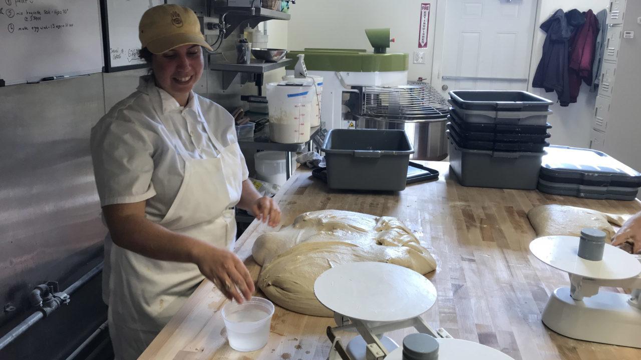 Iliana Imberman Berkowitz working on a batch of bread in her kitchen. (Photo/Alix Wall)