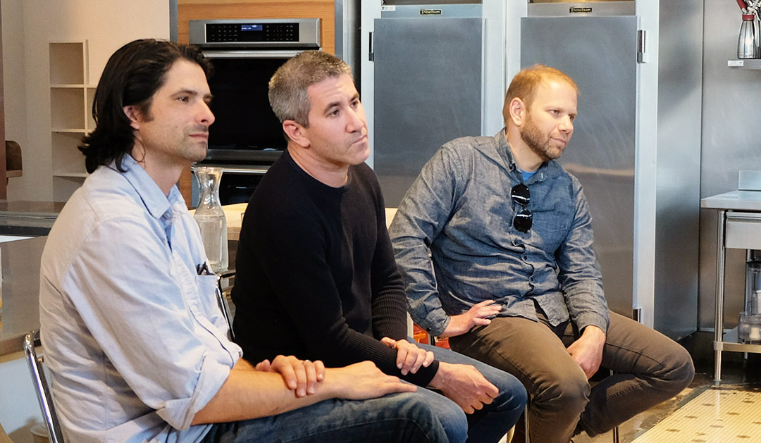 (From left) Paolo Lucchesi, San Francisco Chronicle food editor, moderates conversation with Zahav's Michael Solomonov and Steven Cook (Photo/Courtesy San Francisco Cooking School)