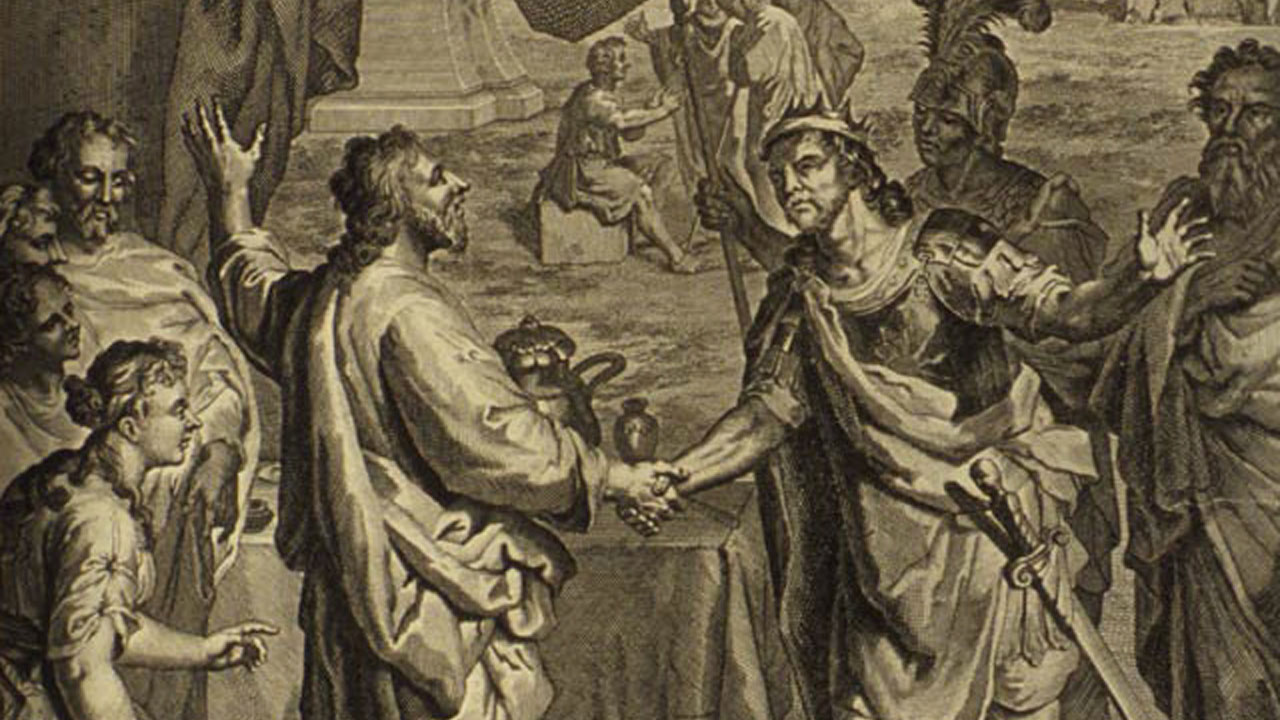 """""""Isaac and Abimilech Swear an Oath of Friendship to Each Other,"""" from the 1728 """"Figures de la Bible"""""""