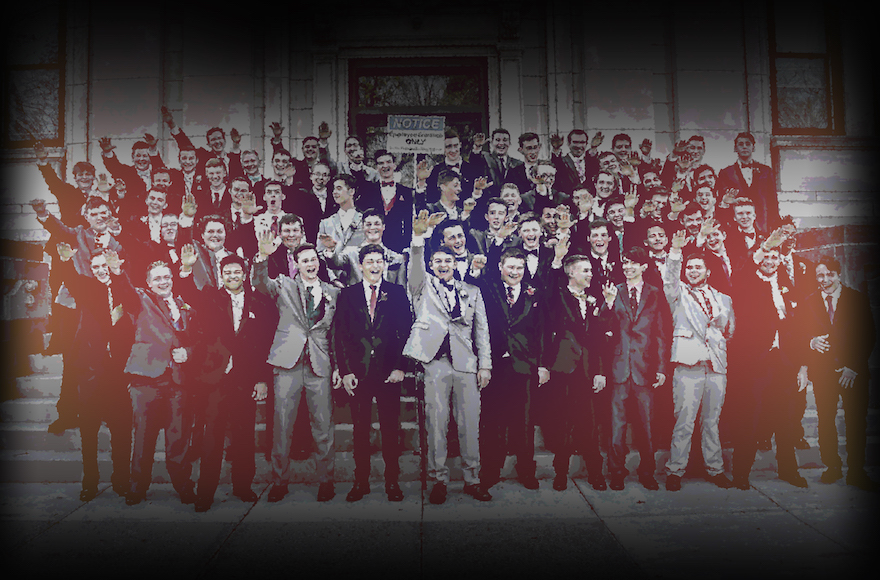 Boys from a high school in Baraboo, Wisconsin were criticized for giving what appears to be a Nazi salute during a group picture. (JTA collage/Twitter)