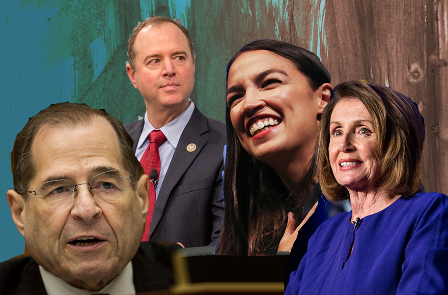 The new Democratic majority in the House of Representatives will see, from left, Jewish lawmakers Jerrold Nadler and Adam Schiff in key leadership roles, upstart Alexandria Ocasio-Cortez representing the insurgent left and Nancy Pelosi in line to be speaker. (Photo/JTA-Getty Images)