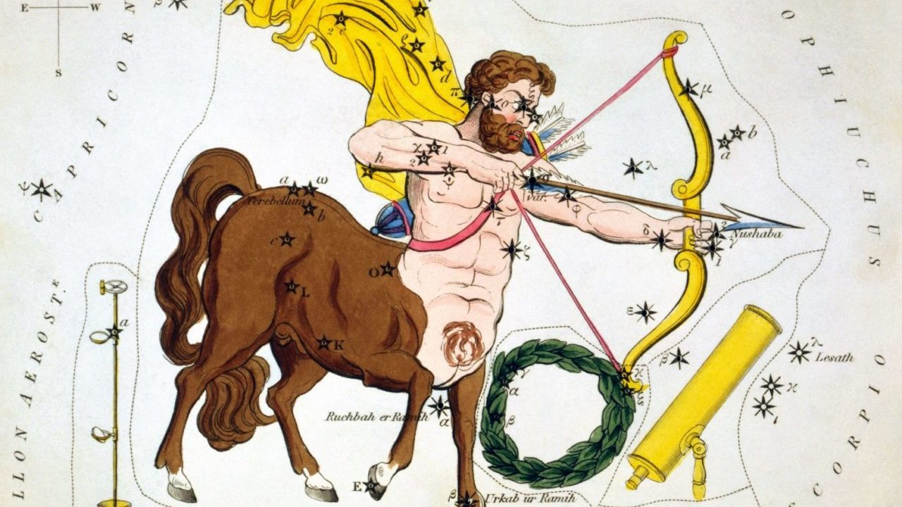 an ornate illustration of a centaur aiming a bow and arrow, with an array of stars and constellations behind it