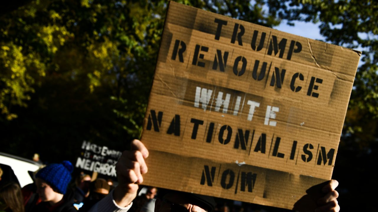 "a protester with a sign reading: ""Trump, renounce white nationalism now"""