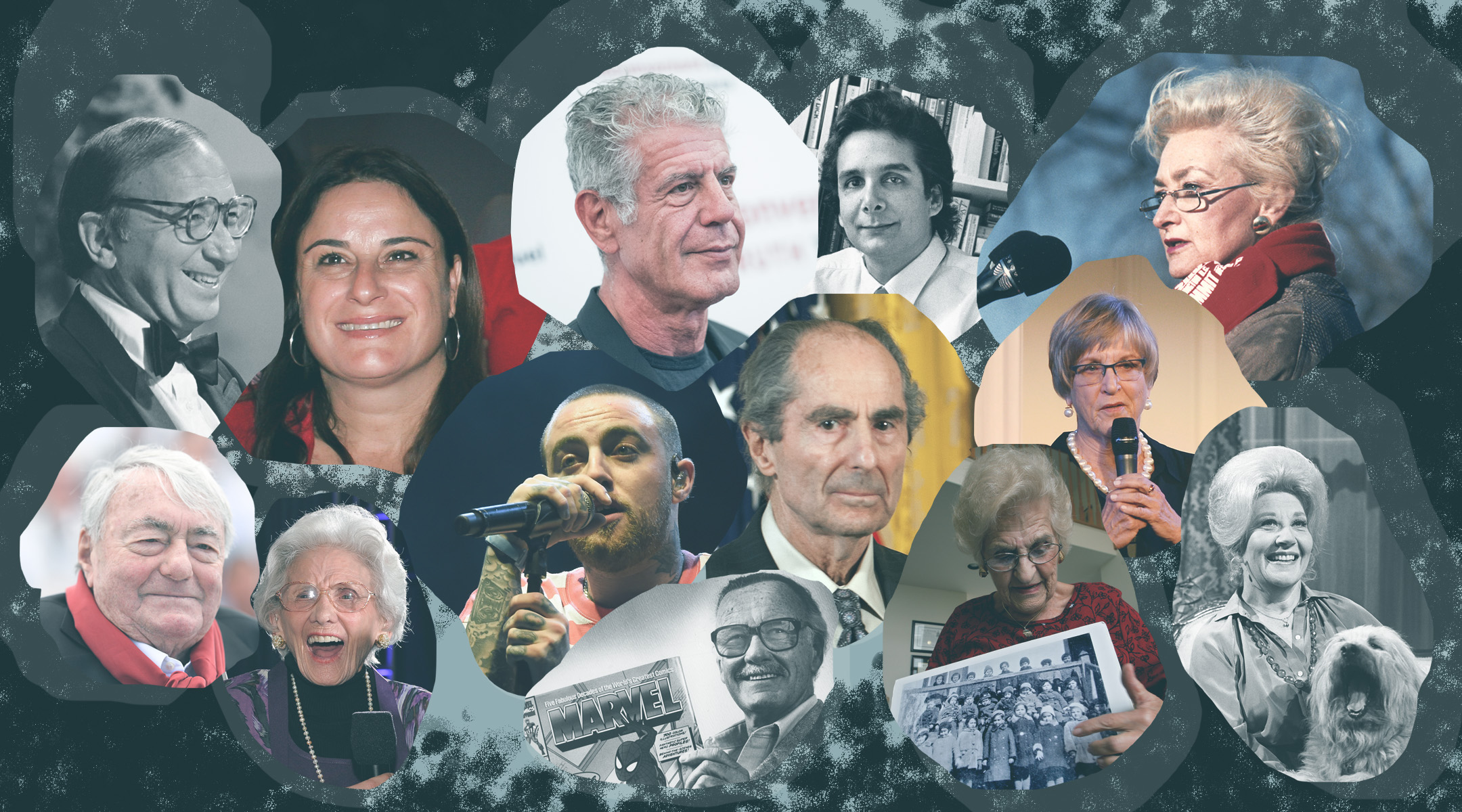 montage of heashots of famous jews who died in 2018