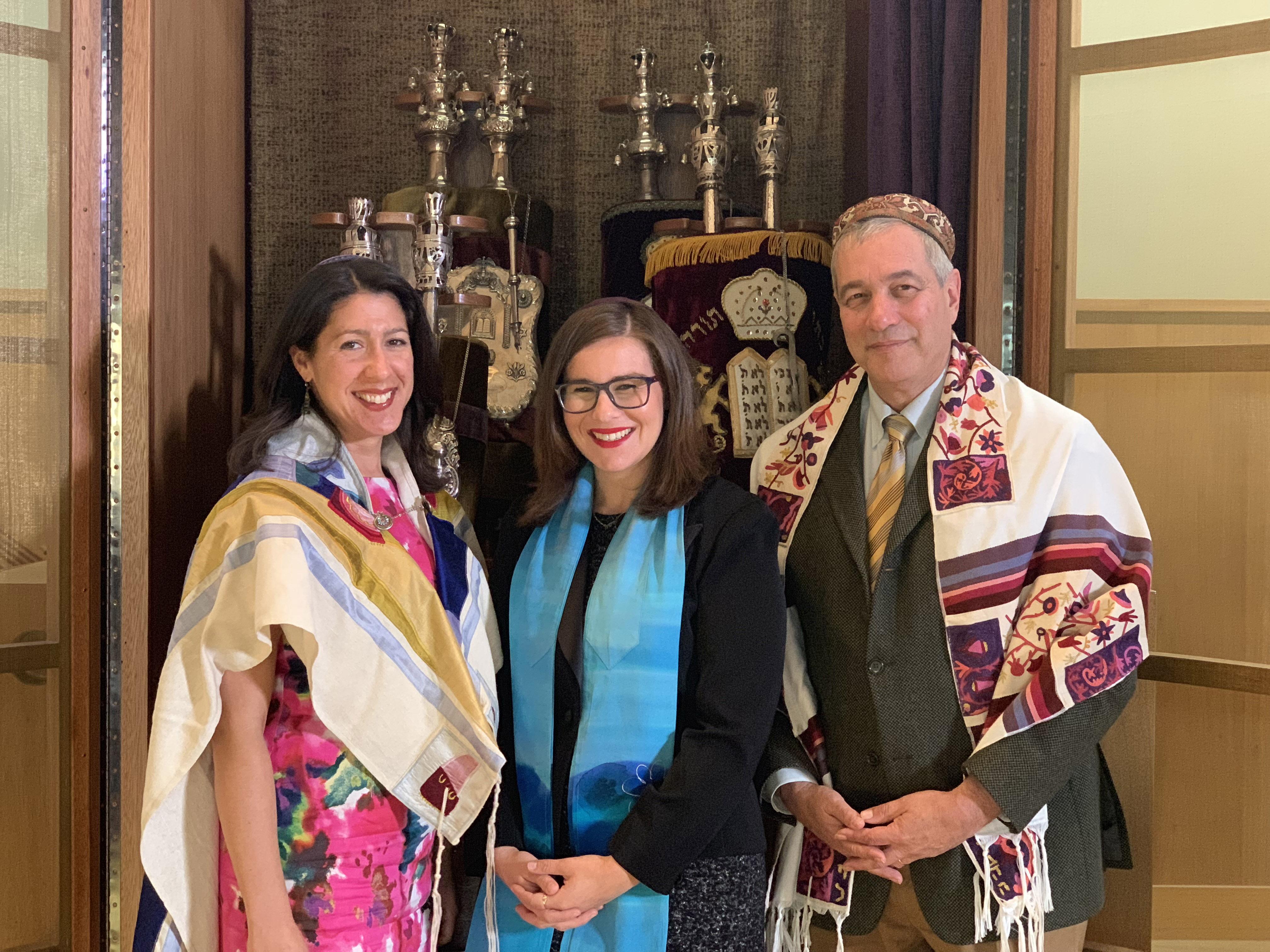 Congregation Beth El Cantor Elaya Jenkins-Adelberg with Rabbi Rebekkah Stern (left) and Rabbi Yoel Kahn.