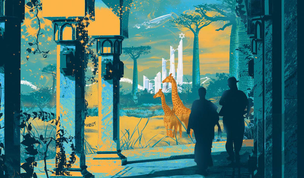 an evocative stylized image in yellow and blue of two silhouetted figures standing under a shadowy colonnade. in the backgound, there are giraffes and a gleaming white city