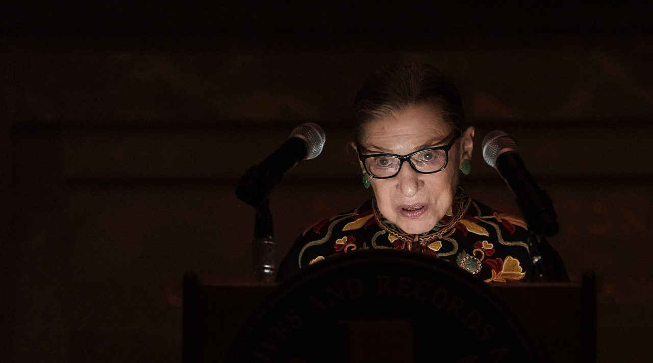 Supreme Court Justice Ruth Bader Ginsburg speaks during a naturalization ceremony at the rotunda of the National Archives in Washington, D.C., Dec. 14, 2018. (Photo/JTA-Alex Wong-Getty Images)