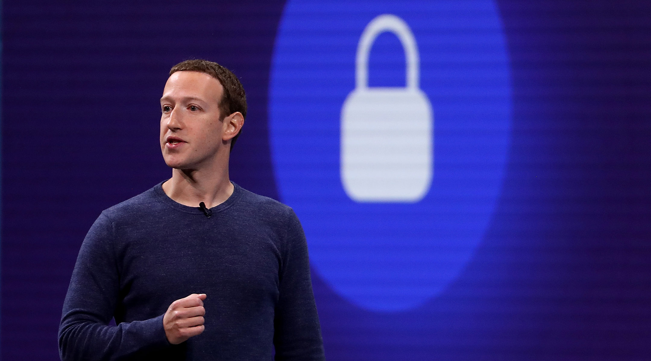 Facebook CEO Mark Zuckerberg speaks during the F8 Facebook Developers conference on May 1 in San Jose. (Photo/JTA-Getty Images-Justin Sullivan)