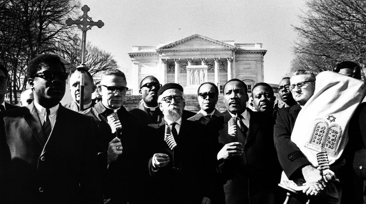 From left, Bishop James Shannon, Rabbi Abraham Heschel, the Rev. Martin Luther King Jr. and Rabbi Maurice Eisendrath at the Tomb of the Unknown Soldier in Arlington Cemetery, Feb. 6, 1968. (Photo/JTA-Charles Del Vecchio-Washington Post-Getty Images)