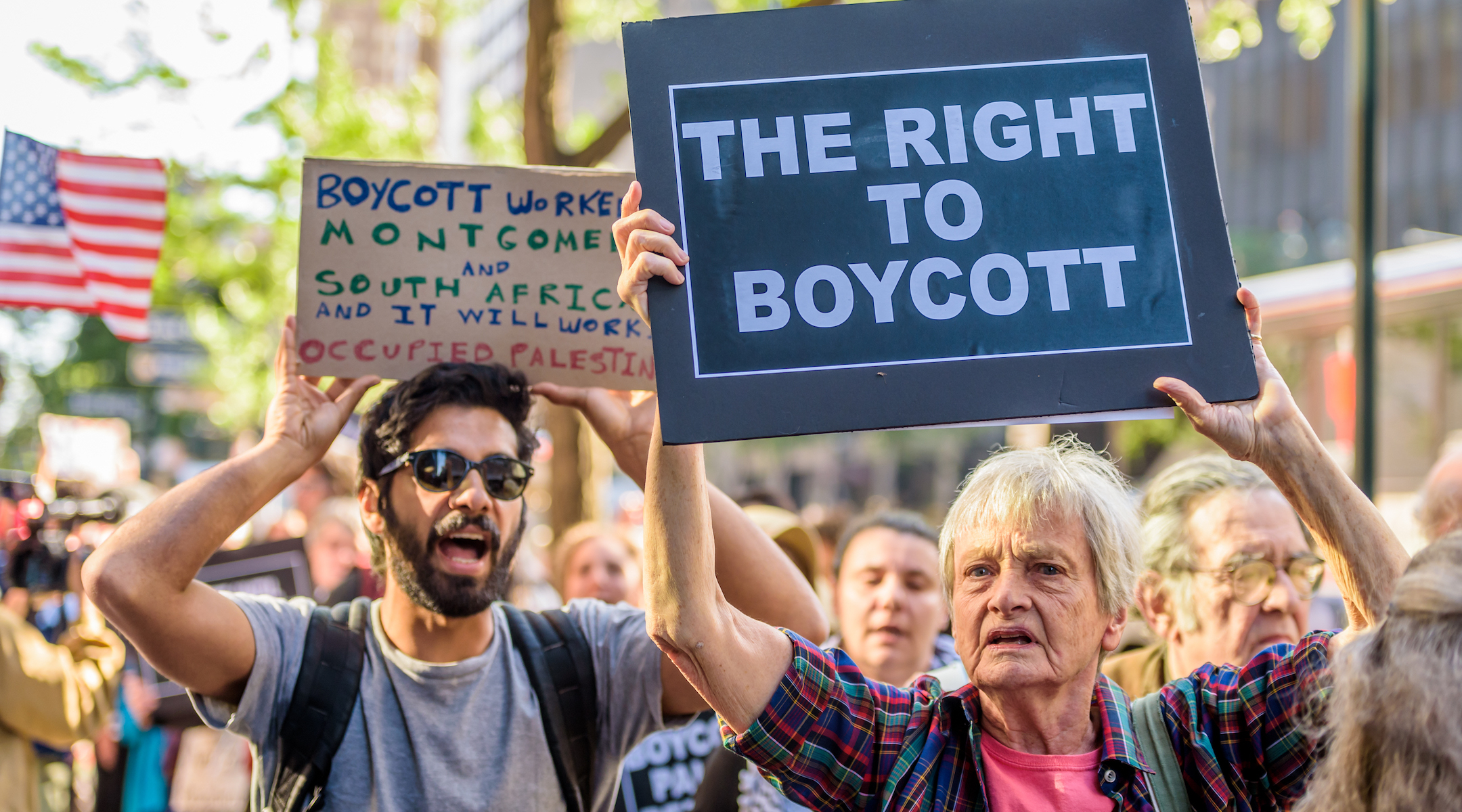 People protesting anti-BDS laws in New York, June 9, 2016 (Photo/JTA-Erik McGregor-Pacific Press-LightRocket via Getty Images)