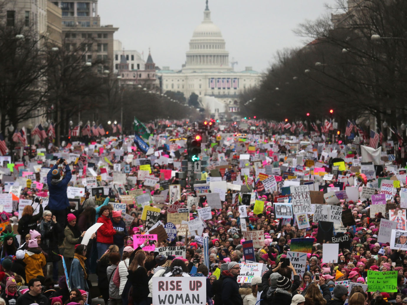 Protesters walk during the Women's March on Washington, Jan. 21, 2017. (Photo/JTA-Mario Tama-Getty Images)