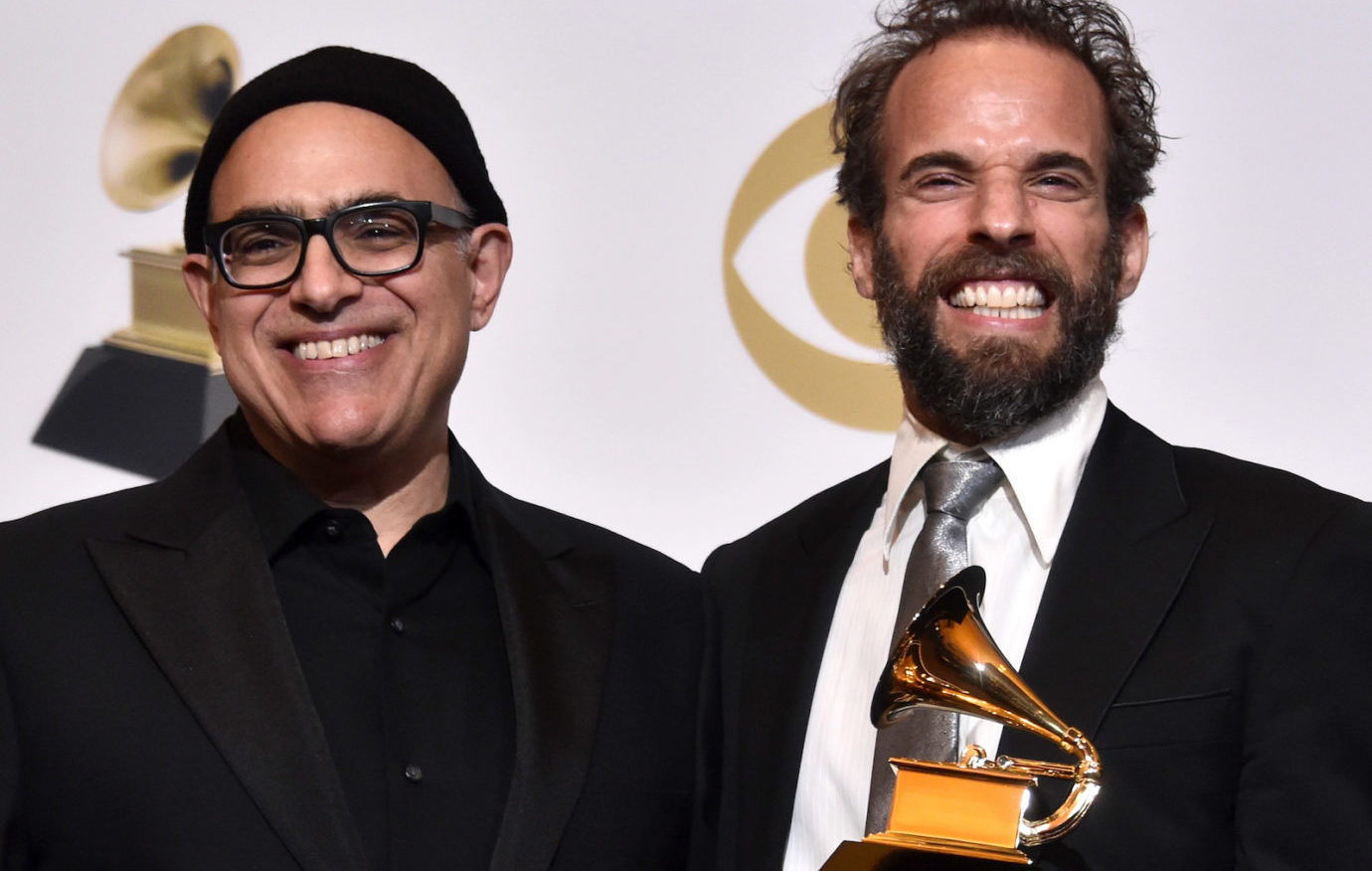 "David Yazbek, left, and Dean Sharenow, winners of Best Musical Theater Album for ""The Band's Visit,"" pose in the press room at the Grammy Awards at the Staples Center in Los Angeles, Feb. 10, 2019. (Photo/JTA-Alberto E. Rodriguez-Getty Images for The Recording Academy)"