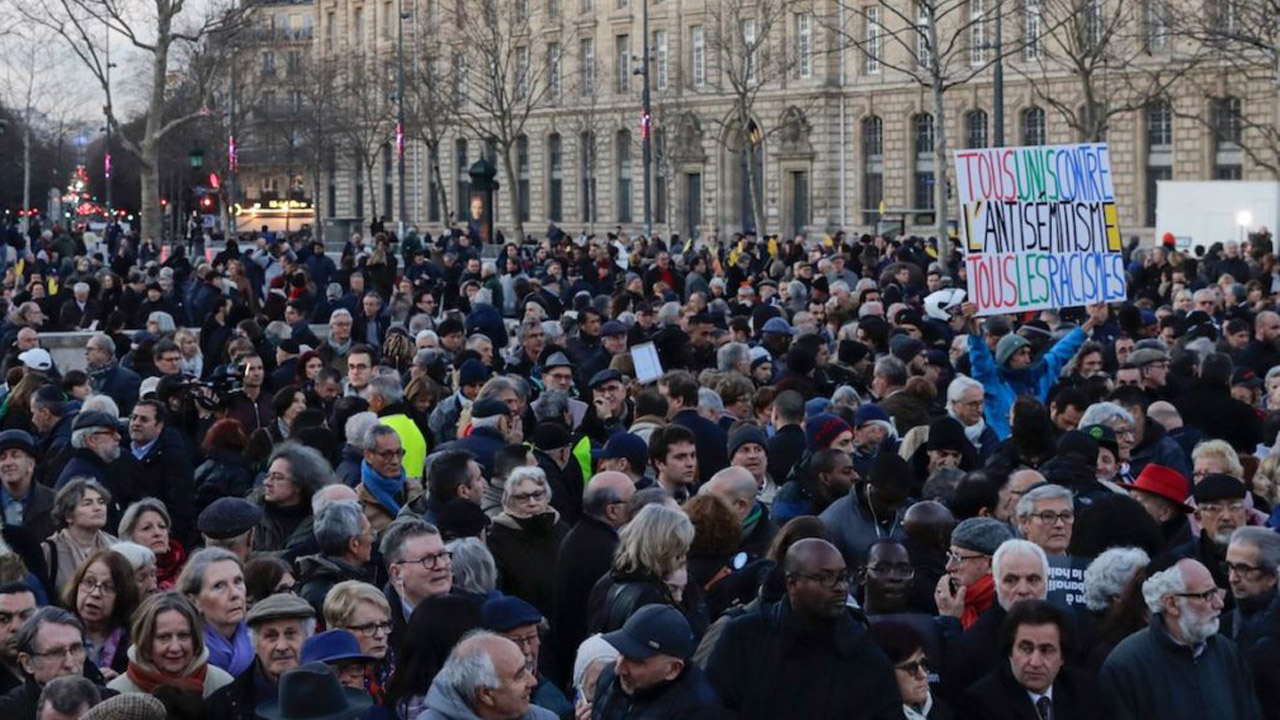 Protesters take part in a rally against anti-Semitism at Republique square in Paris, Feb. 19, 2019. (Photo/JTA-Thomas Samson-AFP-Getty Images)