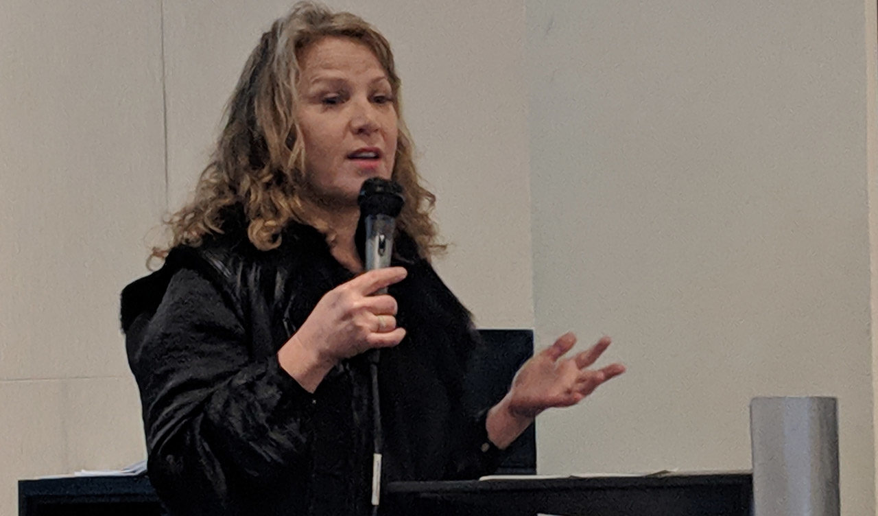 Debbie Findling speaking at a panel on abortion in the Jewish community at Jewish Community Library in San Francisco, March 10, 2019 (Photo/David A.M. Wilensky)