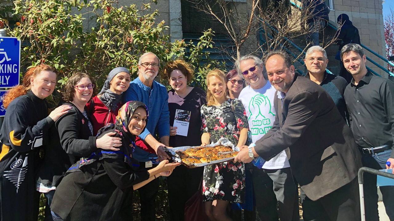 Members of the North Peninsula Jewish and Muslim after Friday afternoon services at Yaseen Foundation, a San Mateo County Muslim community, March 15, 2019 (Photo/Courtesy Stephanie Levine)
