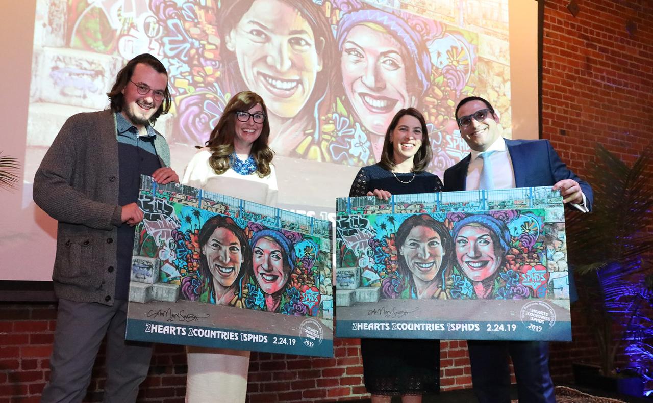 (From left) Artist Solomon Souza,honorees Linor Eylon and Nissa Johanix and Rabbi Shaye Guttenberg at South Peninsula Hebrew Day School gala