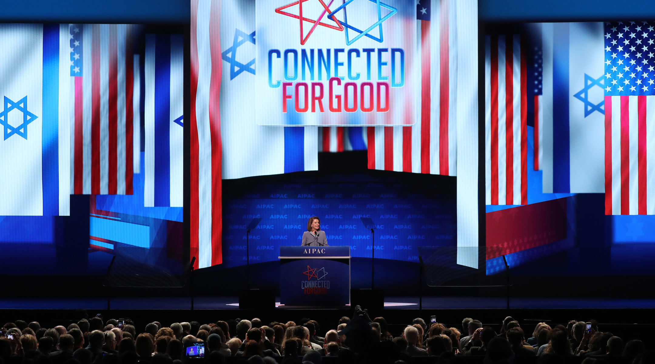 House Speaker Nancy Pelosi speaks at the annual AIPAC conference in Washington, March 26, 2019. (Photo/JTA-Mark Wilson-Getty Images)