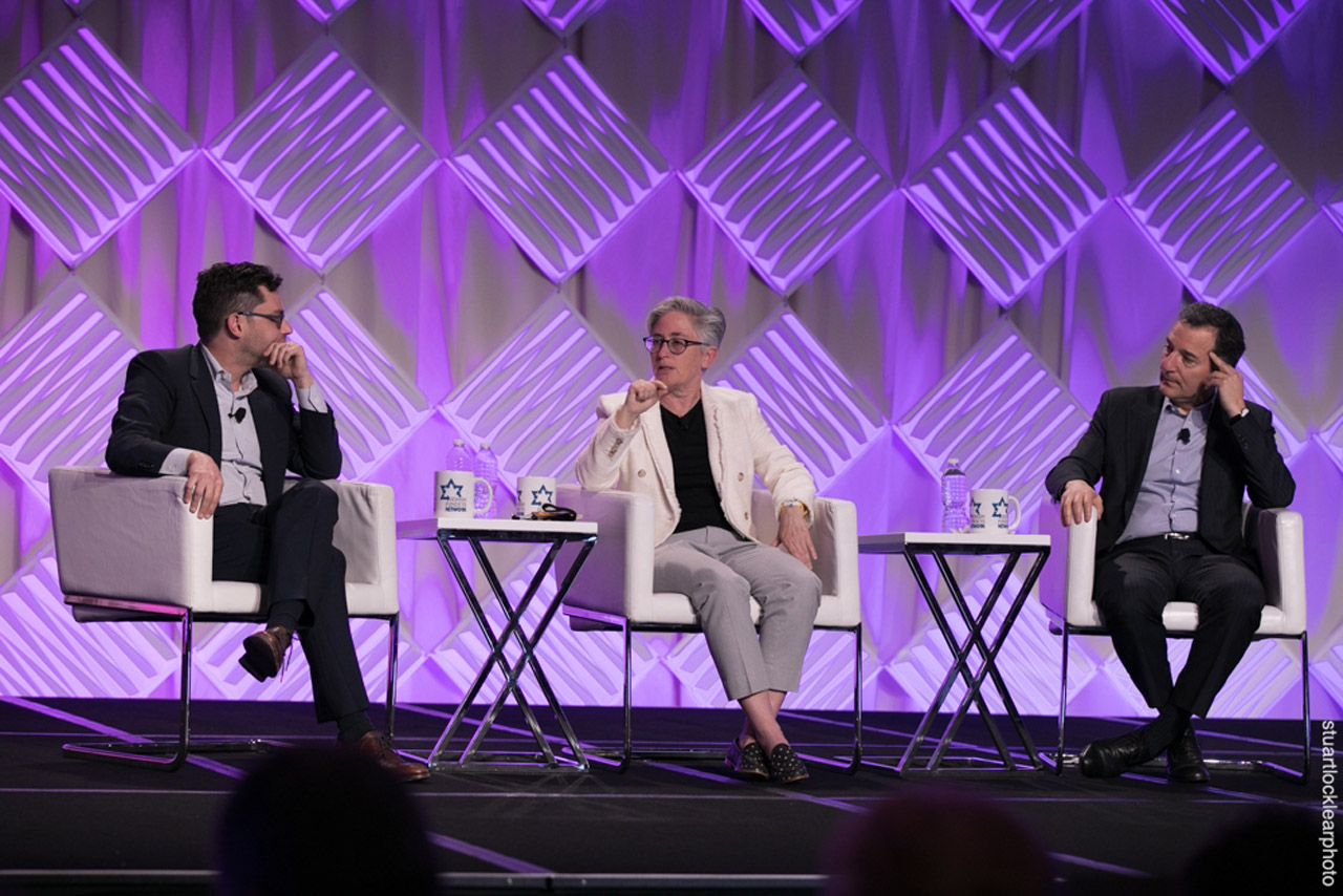 At the March 2019 Jewish Funders Network conference in San Francisco, (from left) Joshua Foer, Lucy Bernholz and Rabbi David Wolpe discuss the potential impact of technology on giving. (Photo/Stuart Locklear Photography)