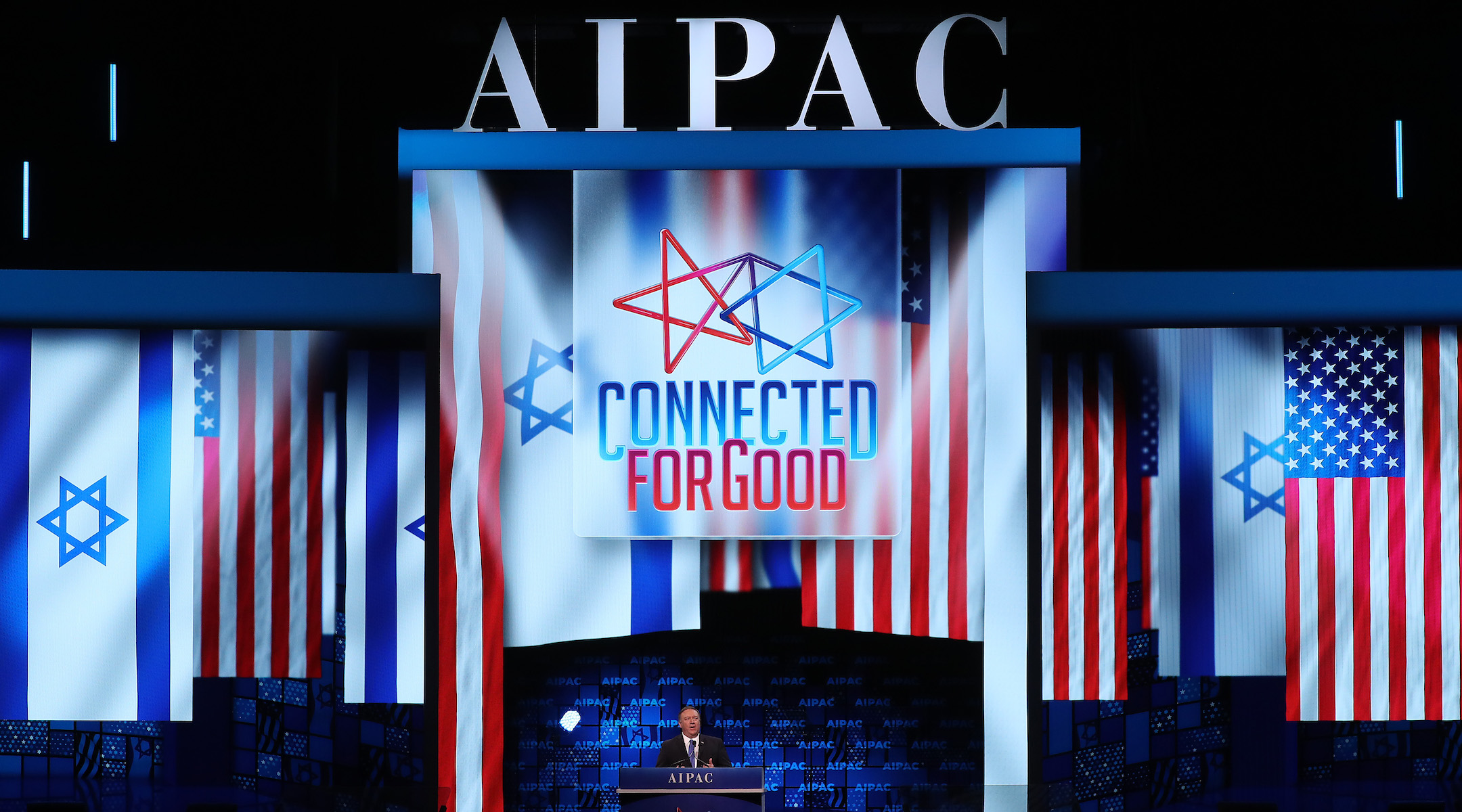 U.S. Secretary of State Mike Pompeo speaks at the annual AIPAC conference in Washington, D.C., March 25, 2019 (Photo/JTA-Mark Wilson-Getty Images)
