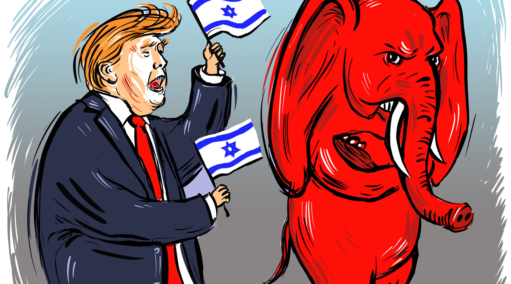 President Donald Trump and many Republicans are divided over Israel. (Illustration/Nikki Casey for JTA)