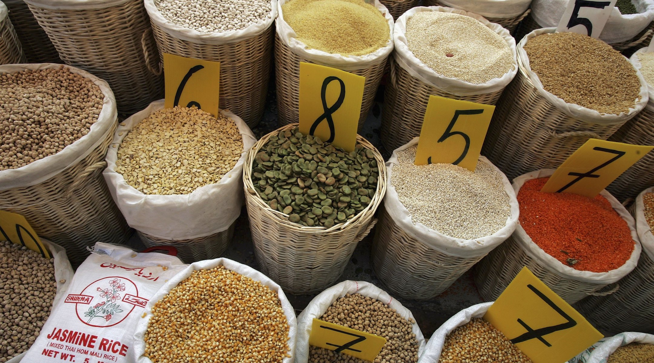 Rice, lentils, chick peas, beans and other legumes shown in a produce market in Netanya, Israel. (Photo/JTA-David Silverman-Getty Images)