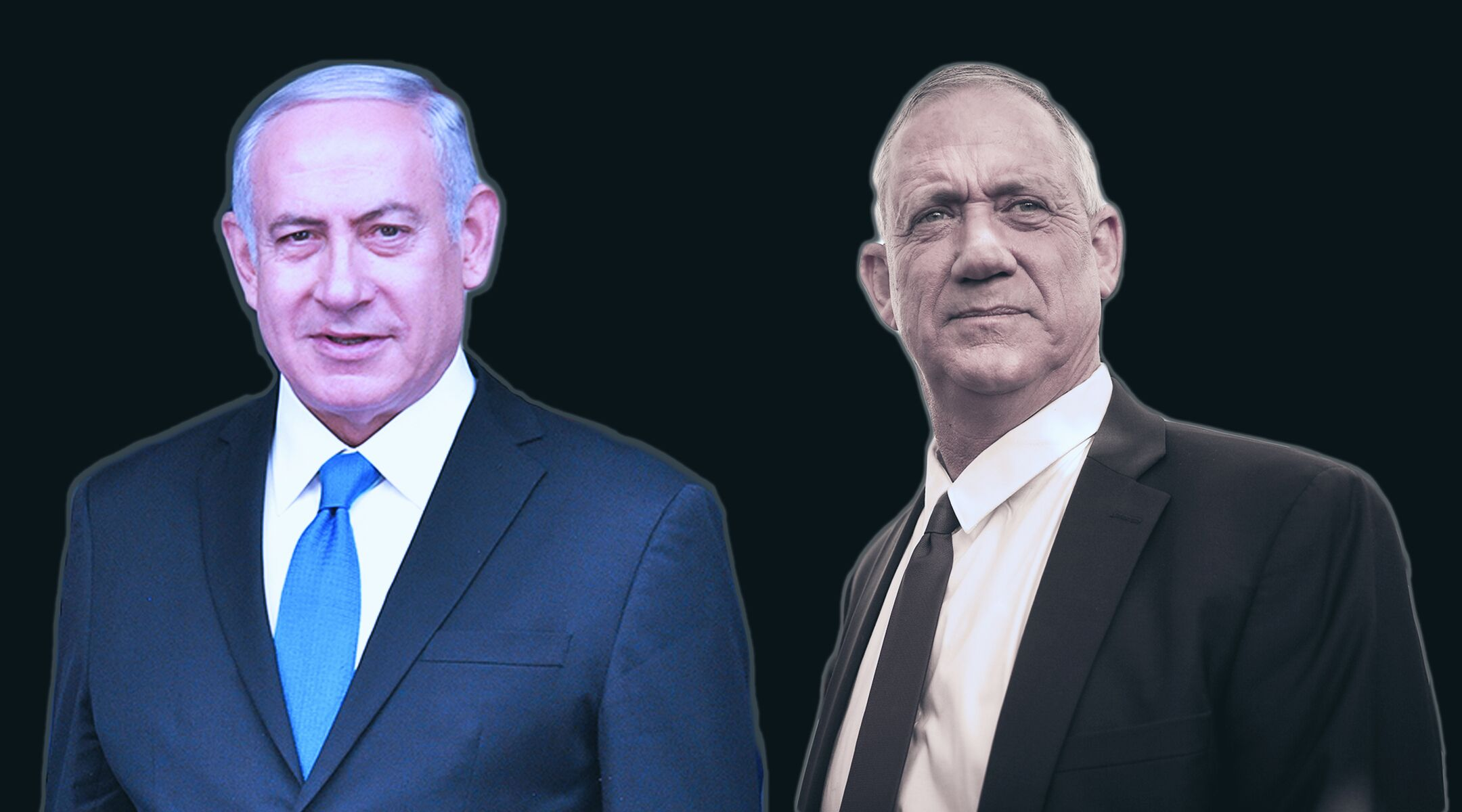 It's still unclear who will emerge victorious in Israel's elections: Prime Minister Benjamin Netanyahu, left, or Benny Gantz. (Photo/JTA-Getty Images)