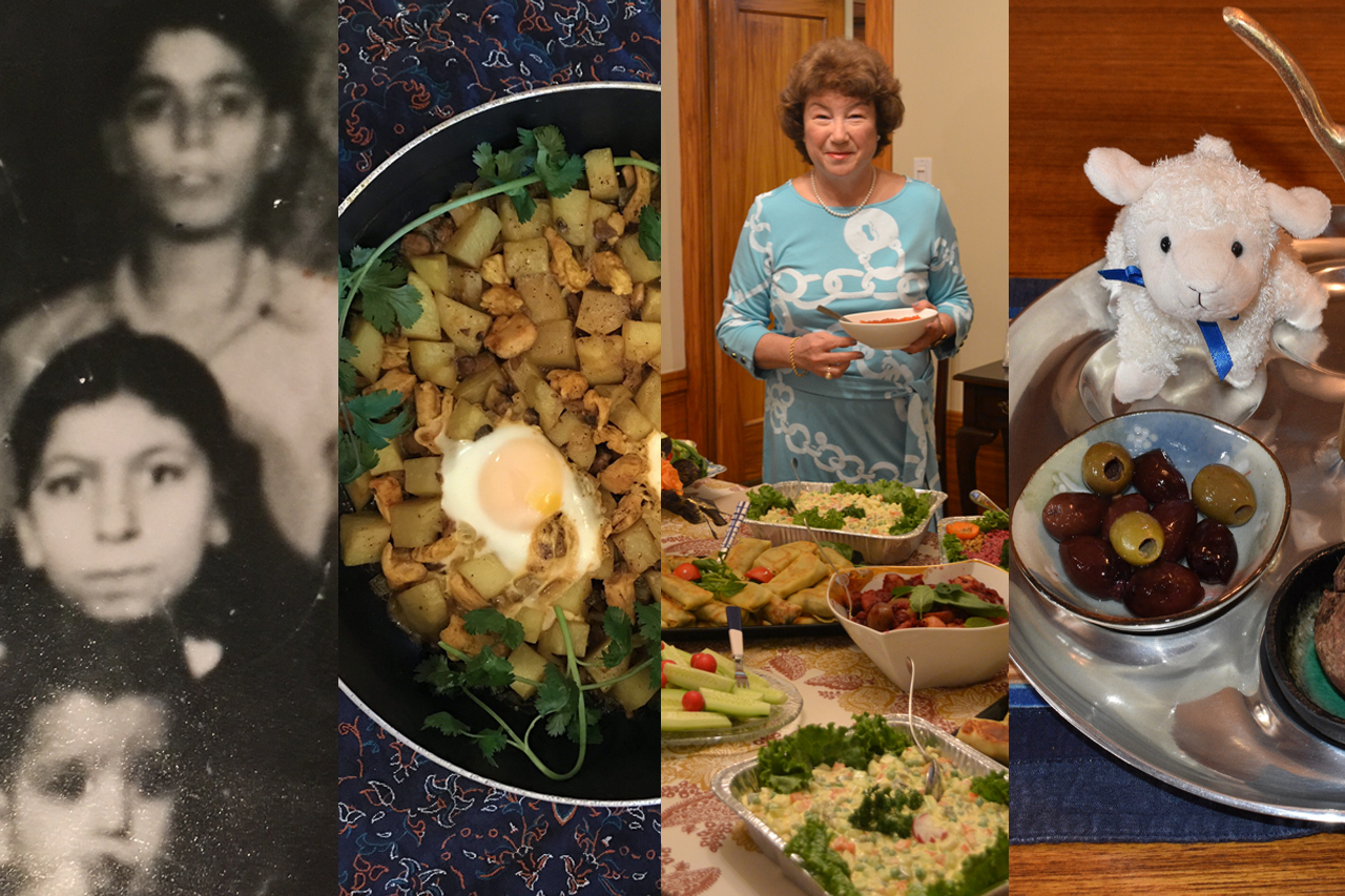 (From left) Sima Canoush on her mother's lap, Jilla Ehsanipour's Passover stew, Frina Nemchenok, Daniella Salzman's vegan-friendly seder plate